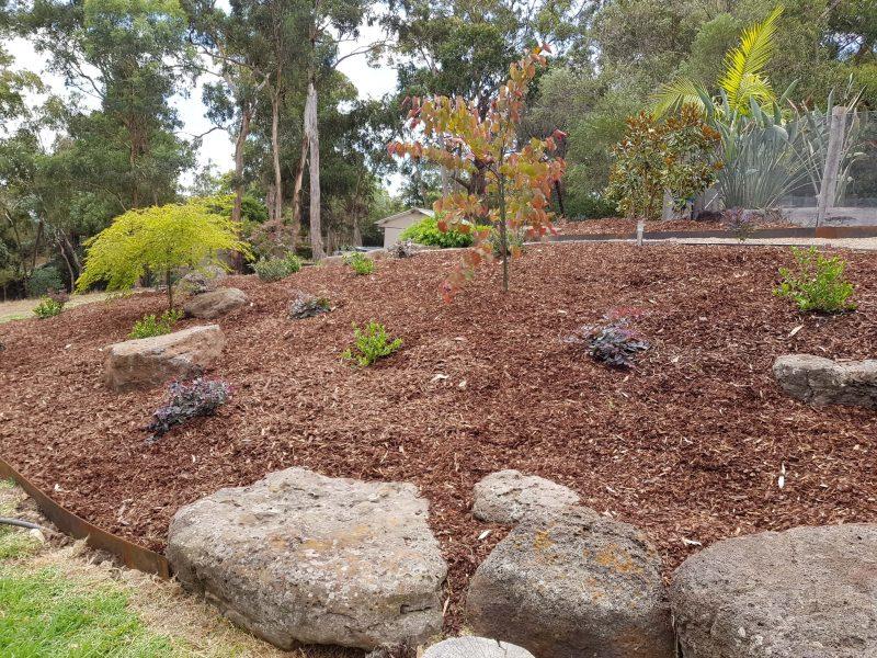 rock work mulching planting